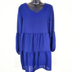 Tier Blue Mini Dress Large with Tier Sleeves